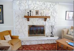 painted white rock fireplace before and after Painted Rock Fireplaces, Painted Stone Fireplace, River Rock Fireplaces, Stone Fireplace Makeover, Fireplace Update, Paint Fireplace, Home Fireplace, Fireplace Remodel, Fireplace Design