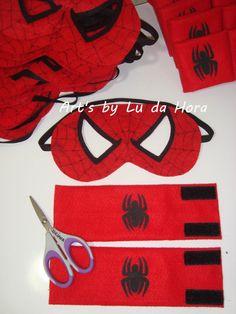 Máscara e Braceletes Homem Aranha 100% Feltro.