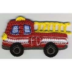 firetruck crochet applique to buy. Similar shape to other vehicles, provides ideas for colours