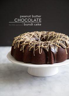 Peanut Butter Chocolate Bundt Cake - The Little Epicurean Peanut Butter Cake Filling, Peanut Butter Recipes, Chocolate Bundt Cake, Chocolate Peanut Butter, Just Desserts, Delicious Desserts, Bundy Cake, Cake Mix Recipes, Bread Recipes