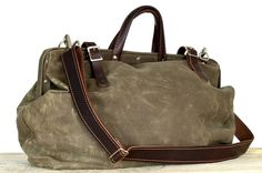 Harry drab olive waxed canvas bag with detachable by sidneyandsons, $130.00