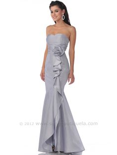 Strapless Evening Dress with Rosette Decore. Style #: 1353. Get yours today at www.SungBoutiqueLA.com