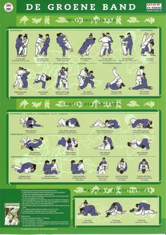 """Throws- and Control-Techniques to attain the Green Belt. From the Judo Infographic: """"Judotechnieken: De Groene Band"""" Martial Arts Styles, Martial Arts Techniques, Judo Gi, Judo Training, Mma Workout, Ju Jitsu, Martial Arts Workout, Mma Boxing, Yoga Anatomy"""