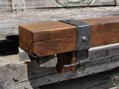 Fireplace Mantels with Iron Straps and Metal Accents - Antique Woodworks Rustic Fireplace Mantle, Reclaimed Wood Fireplace, Brick Fireplace Makeover, Rustic Fireplaces, Fireplace Remodel, Installing A Fireplace, Barn Wood, Woodworking Plans, Antique