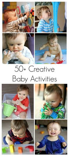 Over 50 ways to entertain your baby! Creative ideas for first art projects and TONS of ideas for edible (taste-safe) sensory play from Fun at Home with Kids