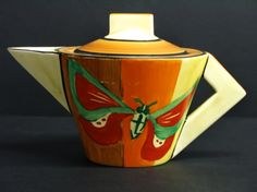Art Deco Conical Butterfly Teapot, Clarice Cliff