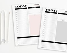 Two A5 Daily Planners Printable Inserts Refills von EllemonDesigns
