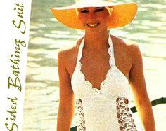 Vintage de ganchillo traje de baño una pieza por TheDotShopVintage