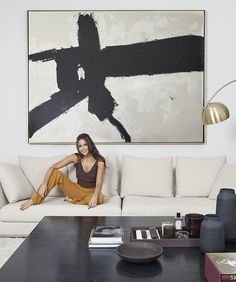 Mandy Capristo's favorite place: the lounge corner in the living room with modern art and streli Fox Painting, Oil Painting On Canvas, Painting Clouds, Encaustic Painting, Oil Paintings, Black And White Wall Art, Black And White Abstract, Abstract Canvas, Canvas Art
