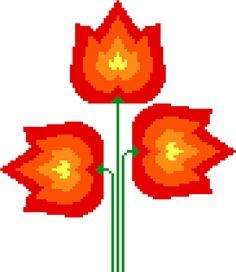 Fiery tulips. Modern retro cross stitch pattern. Contemporary cross stitch chart.
