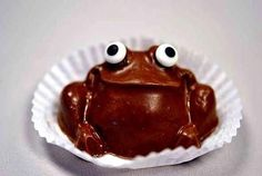 to eat the frog or not to eat the frog that is the question Eat The Frog, Frog And Toad, Food Humor, Funny Food, Frog Food, Chocolate Frog, Best Sweets, Frogs, Food Art