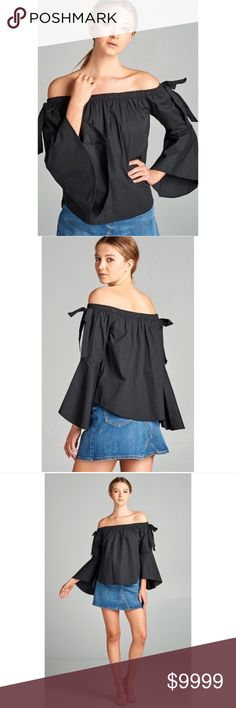 🆕COMING SOON❤️🎉 Pre-order! Black Off shoulder Black Off shoulder bell sleeve top 👚 A MUST HAVE in your closet 😍 you can wear it with jeans, shorts! Skirts! With anything!!!   ✅Black off shoulder  ✅100% Cotton  ✅ Price $34 ✅❤️like this picture to get a notification when they arrive! Tops Blouses
