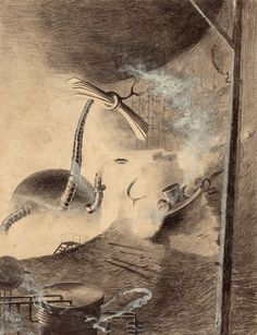 HENRIQUE ALVIM CORRÊA (Brazilian, 1876-1910) Martian Handler, from The War of the Worlds, Belgium edition, 1906 Pencil and ink with white highlights on paper laid on cardstock