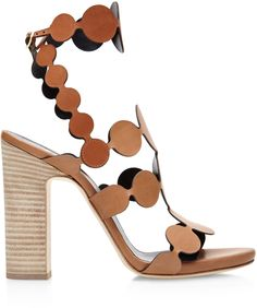 Pierre Hardy ~ Calf Skin Leather Pearl Sandals w Circle Strap & Contrasting Wooden Heel, Brown 2015