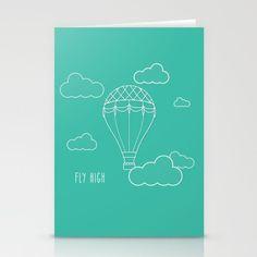 Inspirational hot air balloon stationary card: Fly high