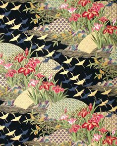 ASIAN JAPANESE FABRIC Dreamscape of Cranes & by AsianFabrics, $5.50