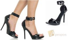 High Heel Sandale Damen Peeptoes Plateau Pump Stiletto Schwarz Lack Apropos