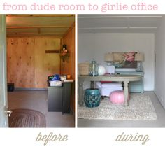 How to start on a hopeless room- transforming a shed to a beautiful office space #beforeandafter #homedecor #diy