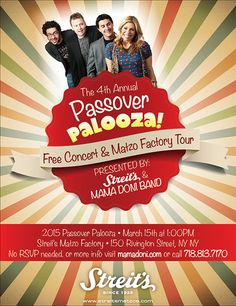 Passover Palooza with free Mama Doni Concert and a tour of the Streit's Matzo Factory. Free Concerts, Ny Ny, Public Art, Tours, Celebrities, Movie Posters, Kids, Celebs, Children