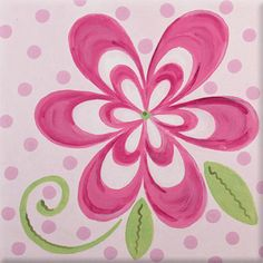 bright pink flower canvas art for kids rooms por AveQcollection