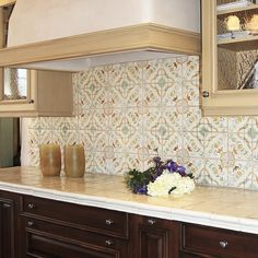 Beige Kitchen Style Ideas With Brown Floral Stencil Moroccan Tile Backsplash  And White Ceramic Tile Kitchen Countertop. Maple Wood Glass Kitchen Cabinet  And ...