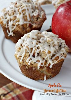 Apple Pie Streusel Muffins have apples, apple pie Greek yogurt, cinnamon, nutmeg & ginger & topped with a pecan streusel topping & vanilla cream glaze. Streusel Muffins, Apple Streusel, Streusel Topping, Apple Desserts, Apple Recipes, No Bake Desserts, What's For Breakfast, Breakfast Muffins, Fall Baking