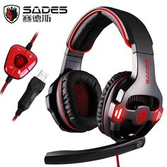 68.80$  Buy now - http://alihrx.worldwells.pw/go.php?t=32617944389 - Sades SA-903 7.1 Surround Sound Over-Ear PC Headset Gaming Headphone USB Game Earphone with Mic Volume LED Lighting for Computer