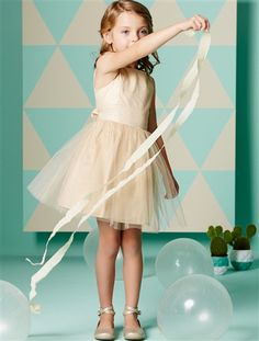 Tulle & Cotton Satin Special Occasion Dress Gold+Pale pink+White