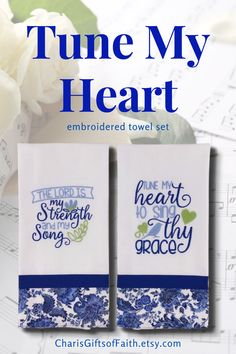Are you struggling to find the best inspirational gift for the Christian women in your life? This beautiful embroidered towel set would be especially meaningful to someone who loves to sing. Find them at CharisGiftsofFaith.etsy.com #faith #christiangifts #embroideredtowels #giftsforher #thelordismystrength #tunemyhearttosing #bluekitchendecor Embroidered Gifts, Embroidered Towels, Gift Of Faith, Blue Kitchen Decor, Diy Gift Baskets, Christian Gifts For Women, Gifts For Cooks, Songs To Sing, Coffee Lover Gifts