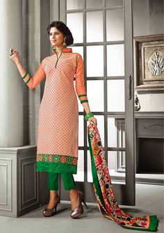 Aesthetic Peach Puff Chanderi Cotton Silk Party Wear Salwar Kameez    http://www.designersareesuite.com/catalog/product/view/id/21059/s/aesthetic-peach-puff-chanderi-cotton-silk-party-wear-salwar-kameez/category/40/#