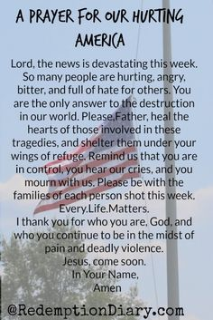 A Prayer for Our Hurting America! Save Our People! Lead Us To Touch All Lives!
