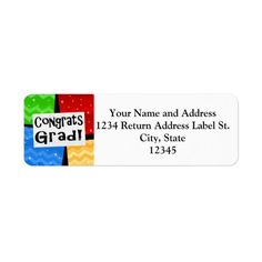 Congrats Grad Festive Multicolor Graduation Party Return Address Labels