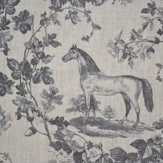 100% Linen Fabric Equestrian Horse Print 'The Noble Horse' in Traditional Toile De Jouy Style - Greys on Soft Cream White Pure Linen Cloth - French Designer Fabric 55 Inches Wide ~ Sold By the Yard Textiles francais http://www.amazon.com/dp/B00ONUUN0K/ref=cm_sw_r_pi_dp_gFslwb1GZP3T2