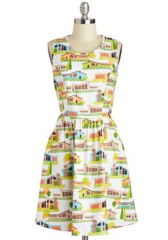 The Lady Brunch Dress, #ModCloth.  So perf - I love all of this patterned goodness. I would wear this to the beach, out to town and around everywhere. It's quirky, light and would be great with some cute flats.