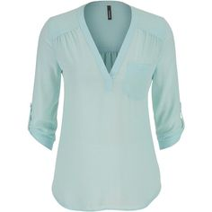 maurices The Perfect Blouse With Textured Dot Stitching In Mint ($29) ❤ liked on Polyvore featuring tops, blouses, shirts, frozen lake, chiffon shirt, v neck blouse, shirts & blouses, green v neck shirt and green polka dot shirt