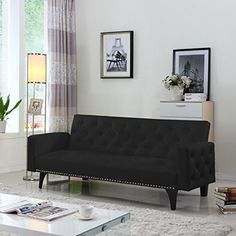 Modern Tufted Bonded Leather Sleeper Futon Sofa with Nailhead Trim in White, Black (Black) Divano Roma Furniture http://www.amazon.com/dp/B019S8NJO8/ref=cm_sw_r_pi_dp_-jF5wb0A6ECMP