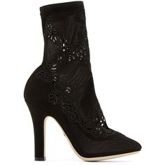 Dolce And Gabbana Black Lace Sock Boots (1,203,735 KRW) ❤ liked on Polyvore featuring shoes, boots, ankle booties, pointed-toe boots, dolce gabbana boots, pointed toe booties, lace boots and perforated boots