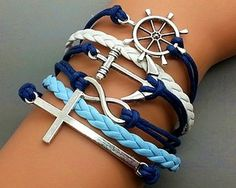 Cross Bracelet-Infinity Bracelet -Anchor Bracelet- Rudder Bracelet-Silver Charm Cute Bracelet Personalized Jewelry from Haoyou on Etsy. Cute Bracelets, Layered Bracelets, Handmade Bracelets, Silver Bracelets, Leather Bracelets, Leather Cord, Anchor Bracelets, Nautical Bracelet, Bangles