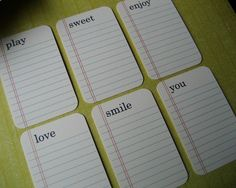 Project LIFE idea: use the blank lined cards, stamp out a word and journal away.