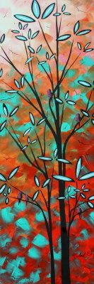 """Original Abstract Landscape Painting, Bird Art by Megan Aroon Duncanson """"Spring Blossoms"""" Abstract Landscape Painting, Landscape Paintings, Abstract Art, Abstract Styles, Orange And Turquoise, Coral, Spring Blossom, Bird Art, Motel 6"""