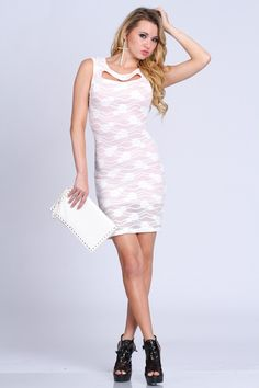 Glam up your wardrobe with this floral mesh dress. One of the hottest trend right now! Dont miss out in this style and add this to your wardrobe its definitely a must have. It features floral mesh overlay, scoop neck, short sleeves, cut out front/back, and tight fitted. 55% Cotton 45% Nylon