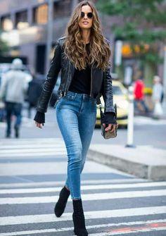 Heaven on earth! Izabel Goulart is rocker chic in leather jacket