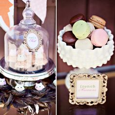 cute vintage owl themed party! i want those macaroons. #hostesswiththemostess