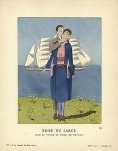 Brise du Large (from Gazette du Bon Ton) 1921. by A.E.Marty