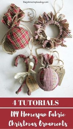 DIY Homespun Fabric Christmas Ornaments - Click through for detailed tutorial for 4 different kinds of DIY Christmas ornaments. They make great handmade Christmas presents! Primitive Christmas Decor } Rustic Christmas Decor | Primitive Christmas Ornament by ashleyw