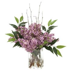 Create a lush tablescape or charming vignette with this lovely faux lilac arrangement, nestled in a glass vase with illusion water.