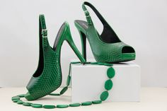 Elevate your look with these emerald green slingback high heels destined to make your friends green with envy. Green High Heels, S Signature, Vibrant Colors, Shoes, Fashion, Moda, Zapatos, Vivid Colors, Shoes Outlet
