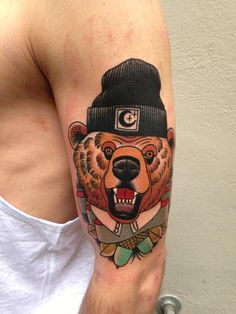 Hipster grizzly tattoo // Adrian Edek