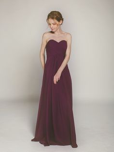 aubergine long chiffon bridesmaid gown with strapless sweetheart swbd004
