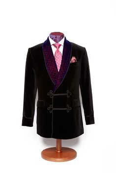 Black double breasted velvet smoking jacket with purple quilted lapel - click here to zoom